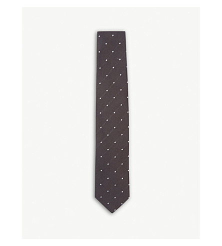 DRAKES Polka dot silk tie (Brown+white
