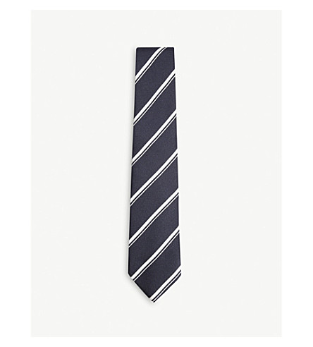 DRAKES Super Reppe diagonal-stripe silk tie (Navy