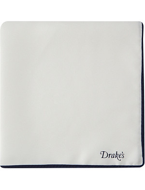 DRAKES Tipped linen pocket square