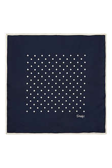 DRAKES Polka dot silk pocket square