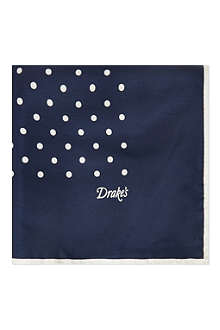 DRAKES Polka-dot pocket square