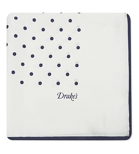 DRAKES Silk polka-dot pocket square (White/navy