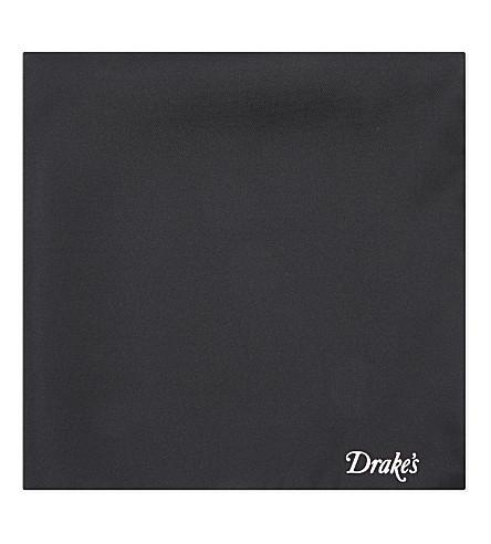 DRAKES Silk tipped pocket square (Black/white