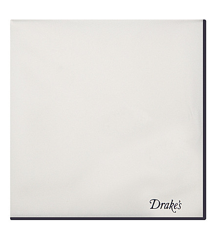 DRAKES Silk tipped pocket square (Wht+navy