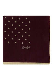 DRAKES Polka dot pocket square