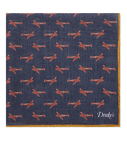 DRAKES Model planes wool-silk pocket square (Navy