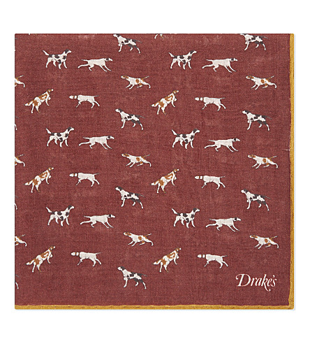 DRAKES Dog print wool and silk-blend pocket square (Bordeaux