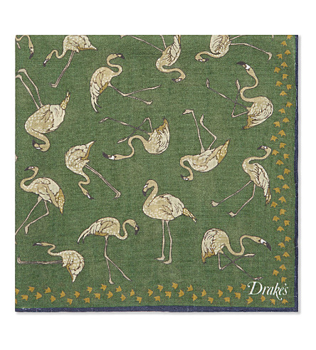 DRAKES Flamingos wool & silk pocket square (Emerald