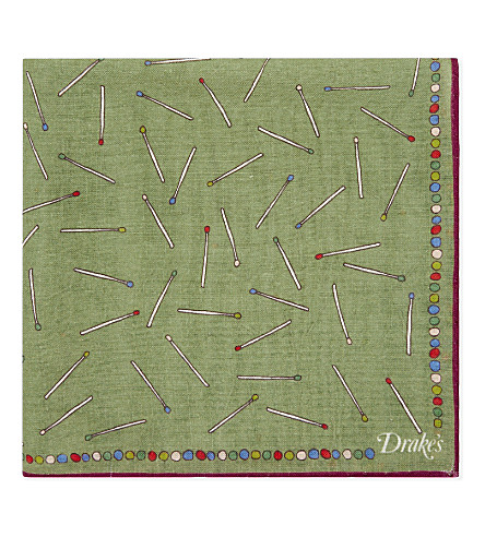 DRAKES Match stick wool-silk pocket square (Khaki