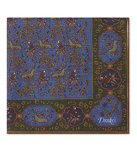 DRAKES Silk-blend forest print pocket square (Blue