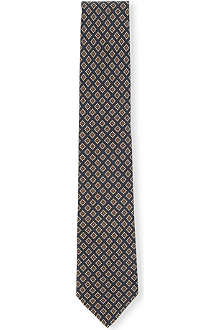 DRAKES Diamond tile-print silk tie