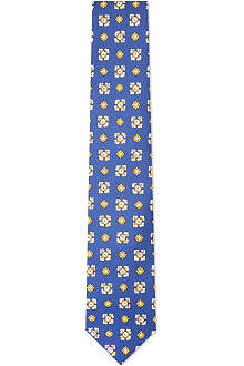 DRAKES Patterned squares silk tie