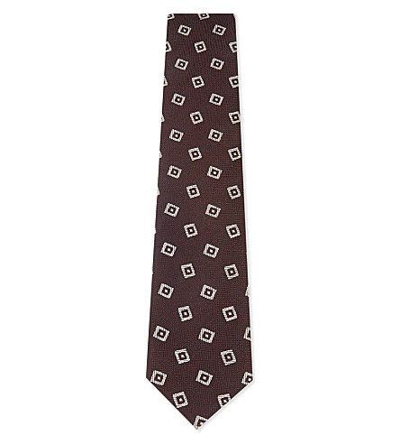 DRAKES Diamonds silk tie (Bordeaux