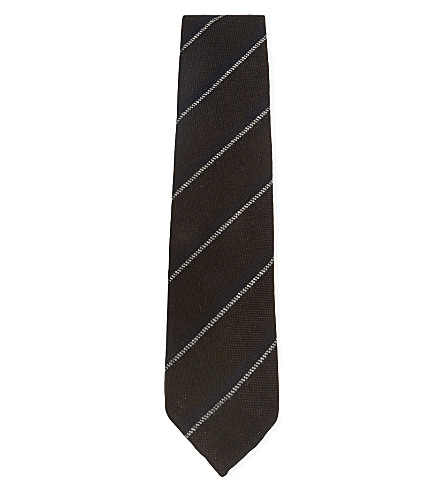 DRAKES Double stripe brushed wool tie (Brown