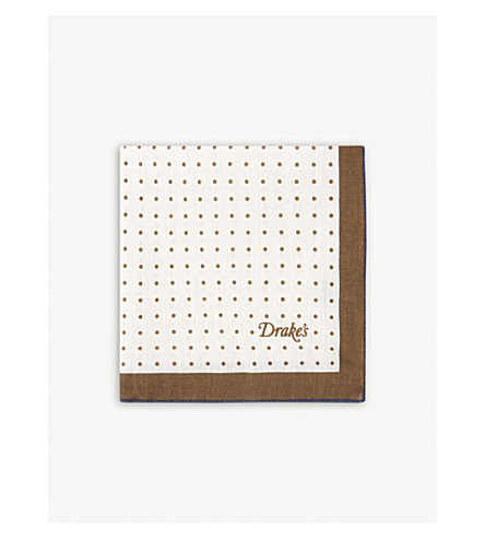 DRAKES Polka-dot linen-blend pocket square (Brown