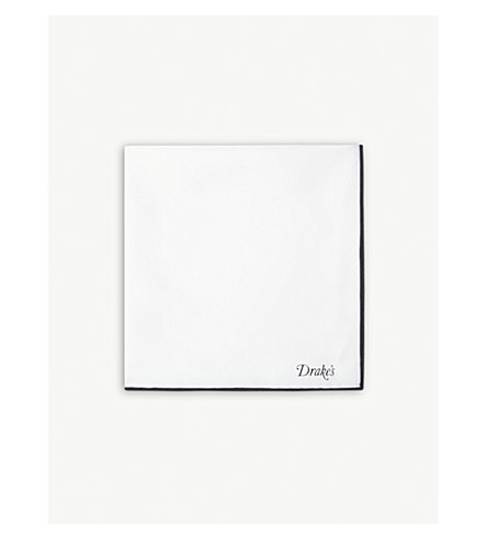DRAKES Silk pocket square (White+black