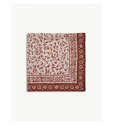 DRAKES Abstract floral cotton-blend pocket square (Red