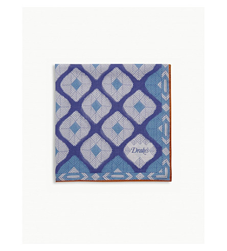 DRAKES Abstract cotton-blend pocket square (Blue