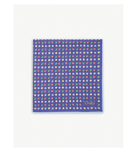 DRAKES Painted polka-dot cotton-blend pocket square (Blue