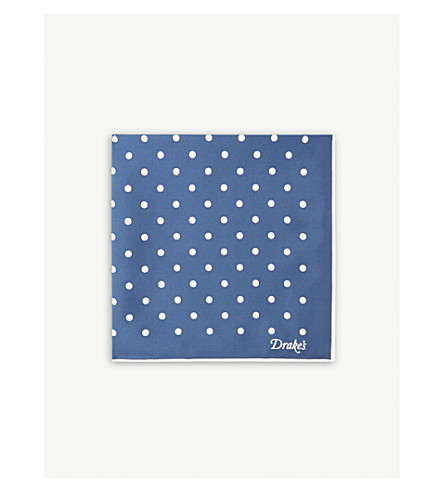 DRAKES Polka-dot print silk pocket square (Navy+white