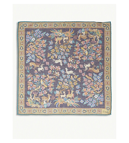 DRAKES Garden of Eden cotton-blend pocket square (Blue