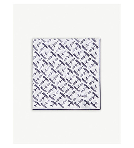 DRAKES Aeroplane print cotton-blend pocket square (Navy