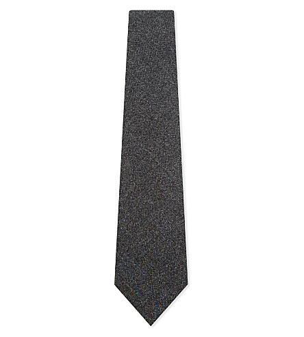 DRAKES Solid cashmere tie (Charcoal
