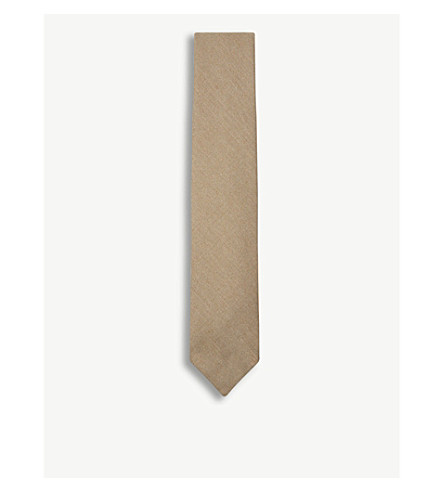 DRAKES Wide blade linen tie (Gold