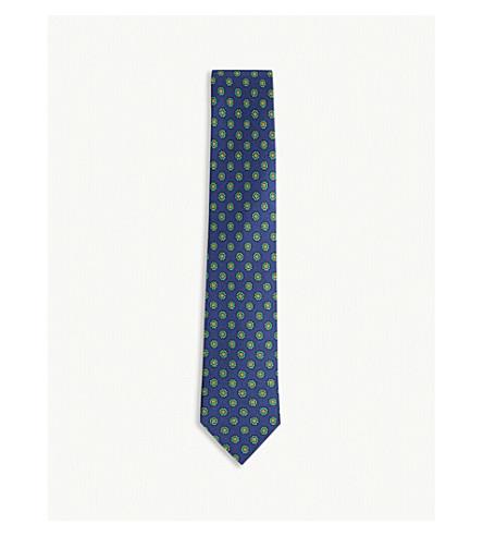 DRAKES Medallion textured silk tie (Royal