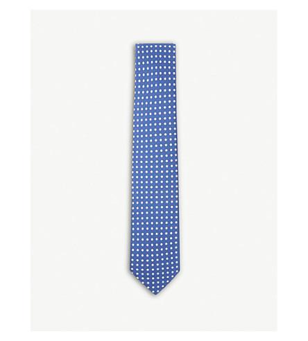 DRAKES Polka-dot print silk tie (Airforce+white