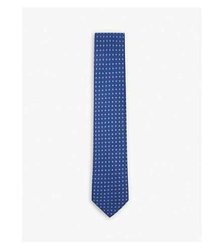 DRAKES Polka-dot print silk tie (Royal+blue