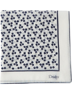 DRAKES Square print cotton silk pocket square