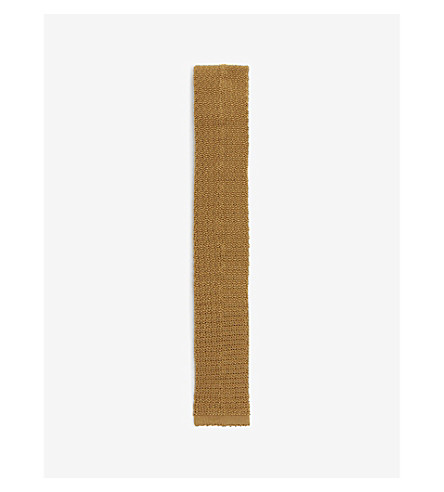 DRAKES Solid knitted silk tie (Gold