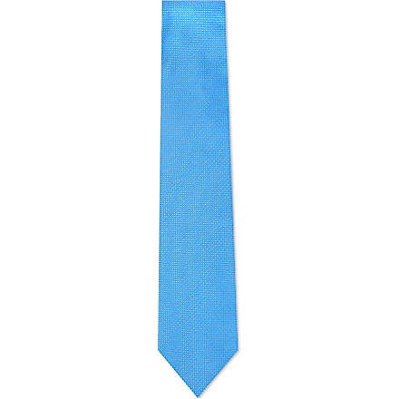 DRAKES Pin dot silk tie (Blue
