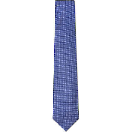 DRAKES Pin dot silk tie (Navy