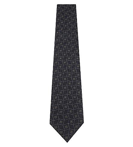 DRAKES Diamonds silk tie (Navy