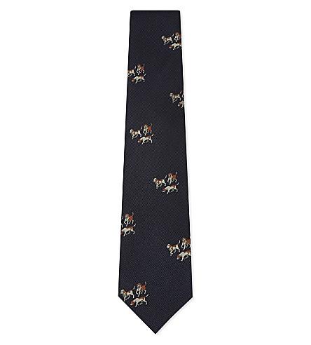 DRAKES Dog motif jacquard silk tie (Blue