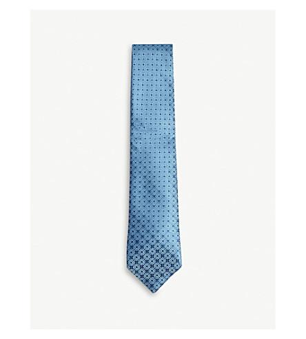 CHARVET Medallion silk tie (Blue+teal