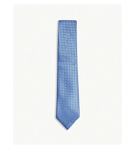 CHARVET Cross-pattern silk tie (Blue