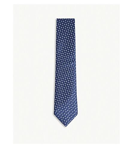 CHARVET Contrasting square silk tie (Navy