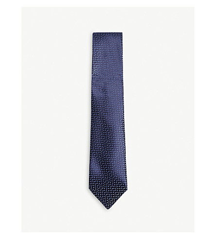 CHARVET Polka-dot silk tie (Navy+blue