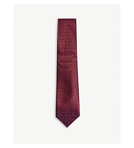 CHARVET Floral print silk tie (Burgundy