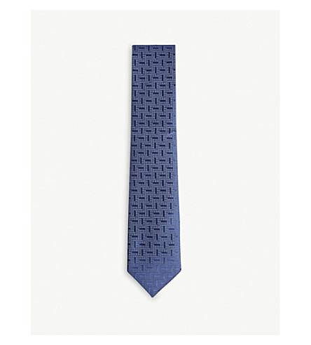 CHARVET Rotated block silk tie (Navy