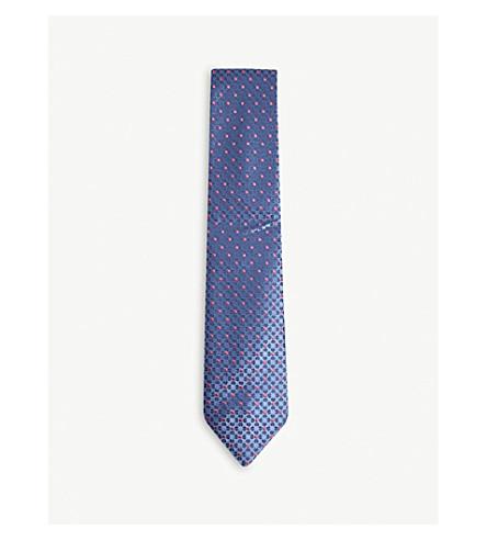 CHARVET Flower print silk tie (Blue