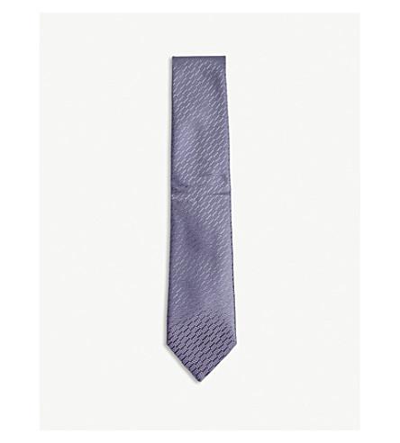 CHARVET Dot cluster silk tie (Grey