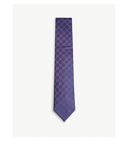 CHARVET Medallion print silk tie (Blue