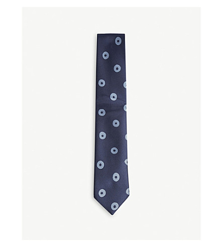 CHARVET Contrasting circle silk tie (Navy+blue