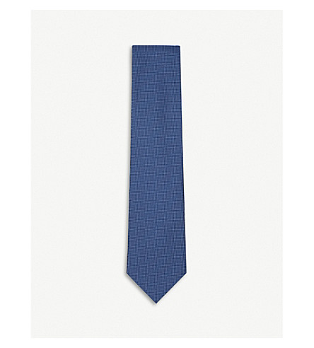CHARVET Geometric-patterned silk tie (Navy