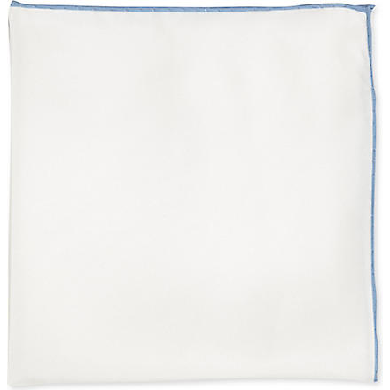 PECKHAM RYE Shoestring silk handkerchief (White/ sky shoe