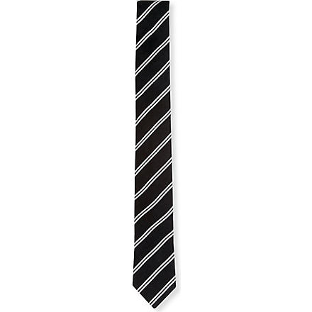 PECKHAM RYE Double stripe tie (Black
